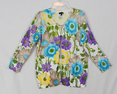 Talbots M size Cardigan Sweater Purple Blue White Floral Womens Lightweight