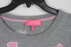 Cute Talbots Sweater Top L size Gray Pink Hearts Womens Soft Lightweight Stretch