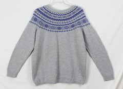 Pretty Talbots 1x size Sweater Gray Blue Crew Neck Womens Cotton Blend