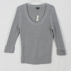 New Talbots L XL size Sweater Gray Womens Ribbed Stretch Career Casual Nice Quality