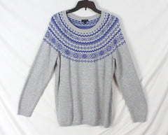 Pretty Talbots Sweater X 1x size Gray Blue Fair Isle Pull On New with tag.