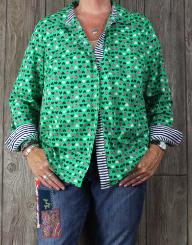 Cute Talbots Blouse 1x size Green Pink Lady Bugs Hearts Womens Plus