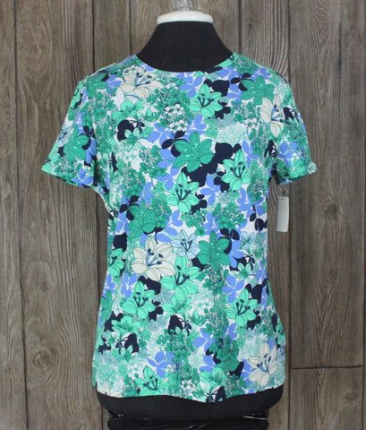 New Pretty Talbots Blouse M size Blue Green Floral Womens