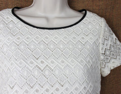 Nice Talbots Ivory Lace Blouse 4 S size New W Tag Womens Lined Career Casual Top 59.99 - Jamies Closet - 3