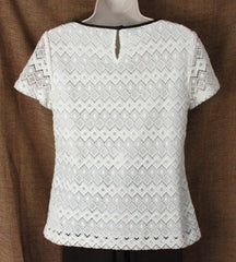 Nice Talbots Ivory Lace Blouse 4 S size New W Tag Womens Lined Career Casual Top 59.99 - Jamies Closet - 4