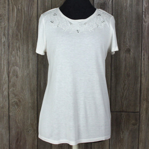 Cute New Talbots Blouse S size Ivory Lightweight Embroidered Eyelet
