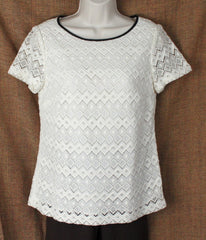 Nice Talbots Ivory Lace Blouse 4 S size New W Tag Womens Lined Career Casual Top 59.99 - Jamies Closet - 1