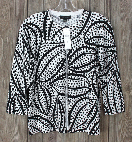 Pretty New Ann Taylor Cardigan Sweater L size Black White Career Casual