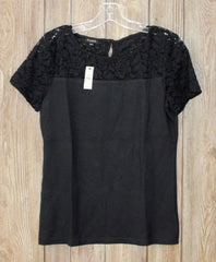 Cute New Talbots Black Lace Accented Top S Size Womens Career Casual
