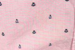 Cute Talbots XL size Blouse Pink White Blue Embroidered Sailboats & Anchors