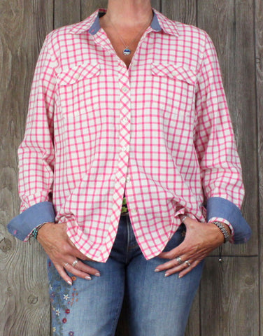 Nice Talbots XL Blouse Pink Off White Silver Metallic Check Cotton Blend
