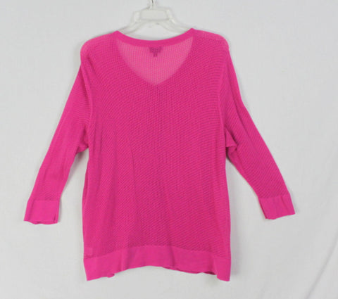 Nice Talbots XL size Cardigan Sweater Set Magenta Pink Cotton Womens 2pc Top Twinset