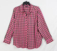 Nice Talbots Blouse Pink Olive Military Green 2x Petite Casual Check