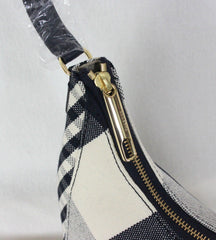 New Talbots Navy Blue Off White Check Handbag Womens Shoulder Canvas Purse $149.00