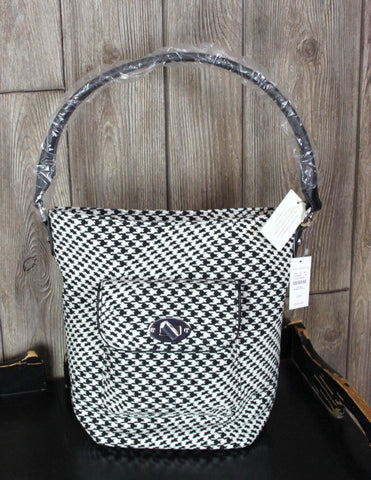 New Talbots Black White Houndstooth Handbag Womens Shoulder Bucket Purse $159.00