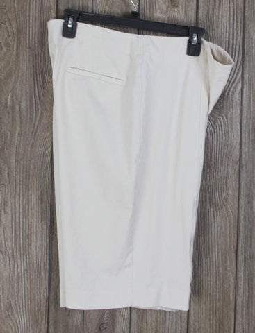 Talbots Heritage Shorts 14 L size Beige Cotton Blend Stretch Womens Dress Casual