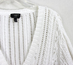 Cute Talbots Cardigan Sweater 2x size White Open Crochet