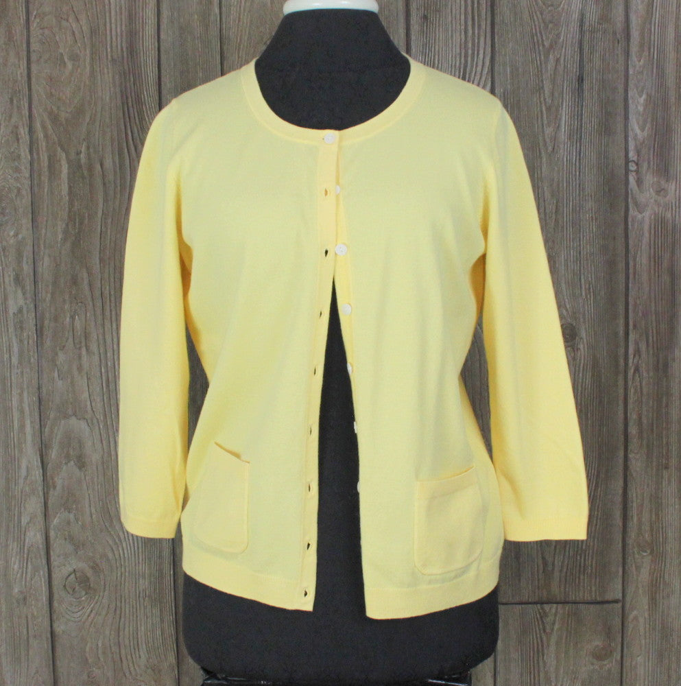 Talbots M size Cardigan Sweater Sunny Yellow Pima Cotton Work Casual