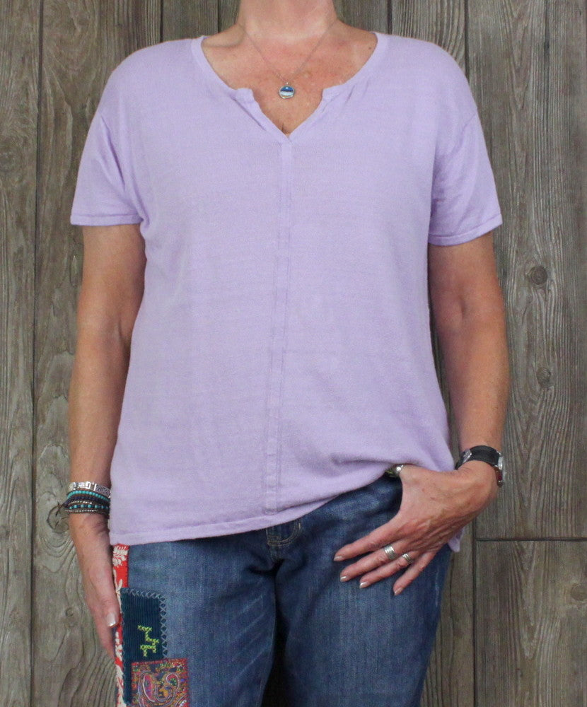 Talbots 1x size Linen Top Light Purple