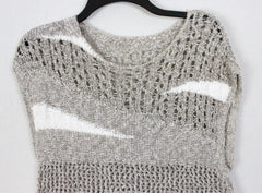 Sleeveless Sweater M L size Mixed Knit Brown Gray White Womens Career Casual Cotton Top