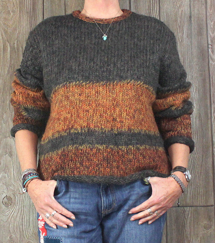 Cute Telluride Clothing Co. Sweater L size Brown Rust Earthy Chunky Wool Blend