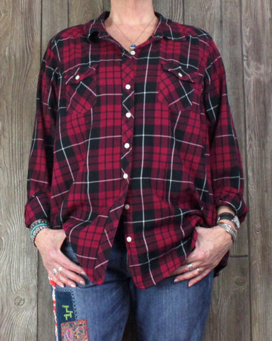 Cute Torrid Blouse 3 2x size Red Burgundy Black Plaid Top Womens Weekend Plus Shirt