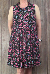 Cute Torrid Dress 2 1x 18 20 size Black Pink Floral Button Front Tank Plus Casual