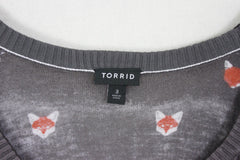 Cute New Torrid 3 2x 3x size Lightweight Sweater Top Gray Little Foxes