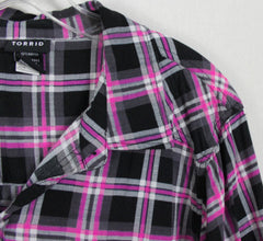 Cute Torrid Pink Gray Plaid Blouse 3 3x sze Womens Lightweight