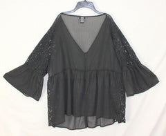 Pretty Torrid 2 2x size Blouse Black Sheer Lace & Bell Sleeves
