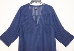 Pretty Torrid 1 1x size Blouse Navy Blue Sheer Top Womens lightweight Work Casual Shirt