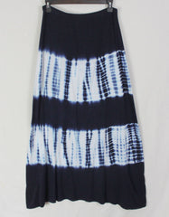 Cute Tryst M Size Tie Dye Skirt Dark Blue White Stretch Elastic Waist Hippy Festival