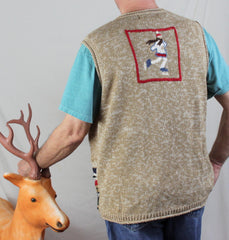 Ugly Christmas Sweater Vest 2x size Ice Skaters Mittens Beenies Mens Womens Hats - Jamies Closet - 2