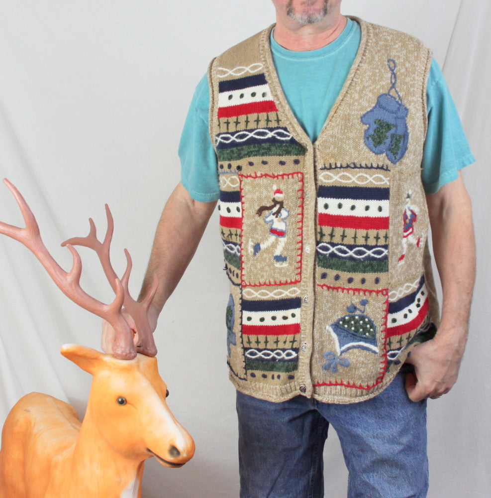 Ugly Christmas Sweater Vest 2x size Ice Skaters Mittens Beenies Mens Womens Hats - Jamies Closet - 1