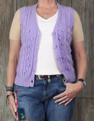 Cute Sweater Bee Vest L size Raised Cable Hand Loomed Light Purple Stretch Casual