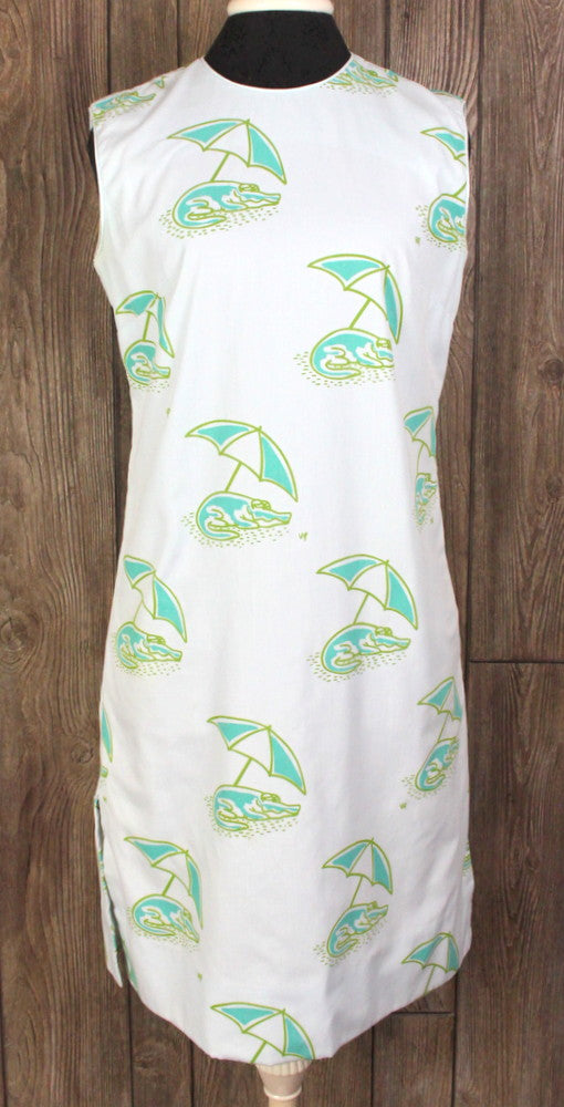 Cute Vintage The Vested Gentress Dress 14 L size Blue Green Crocodile Aligator