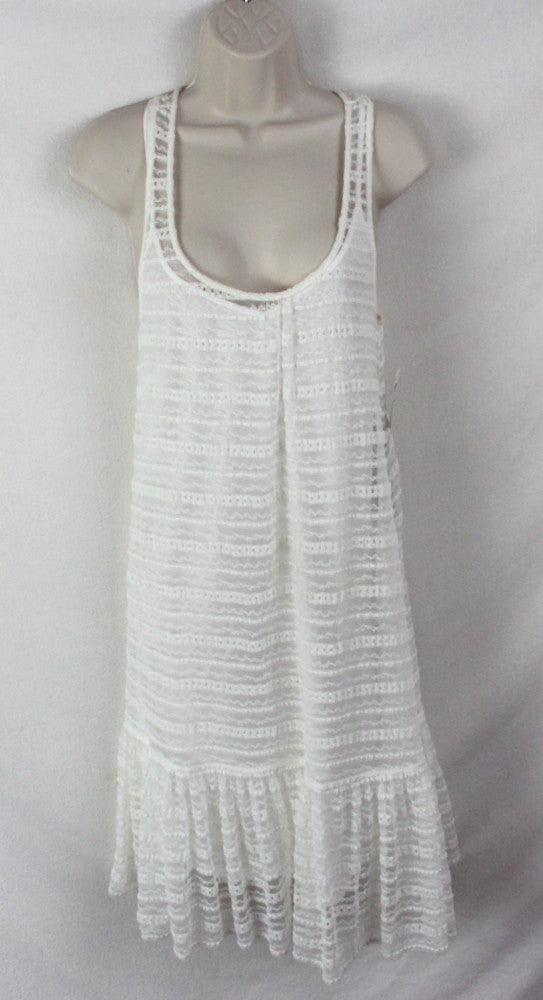 Cute St Tropez Macy's Voyage Mediterranee Dress S size New Ivory Net Lace Over Cami Stretch Summer - Jamies Closet - 1