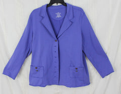 Cute White Lotus XL size Blue Cotton Blazer Jacket Womens Comfortable Career Casual - Jamies Closet - 2