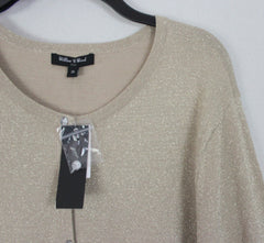 New Pretty Willow & Wind Cardigan Sweater 2x size Gold Metallic Stretch