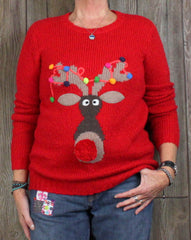 Cute New Christmas Sweater UK 10 S M L size Wacky Reindeer Pom Pom Nose Red Multi Color