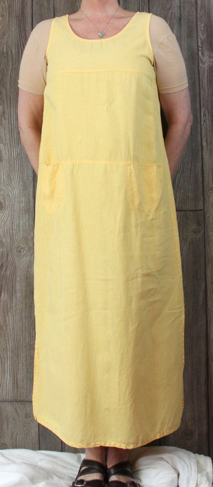 Classique by Shawn L size Dress Sunflower Yellow Long Casual Tank Linen Comfort