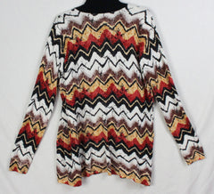 Nice Cyrus Cardigan Sweater L size Rust White Black Brown Open Front Womens Lightweight