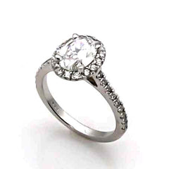 Moissanite Engagement Ring, 1 Carat Oval Forever One Moissanite & .50 Carat Diamond, Anniversary - F1JRBS4172E