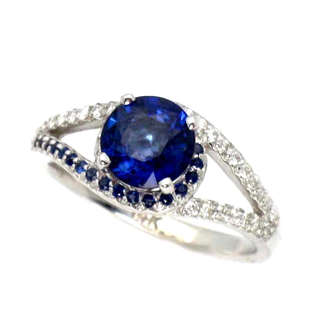 Split Shank Halo White Gold 1.4 Carat Blue Sapphire Gemstone In The Center With Diamonds And Sapphire Accent Stones Engagement Ring - SP94618ER