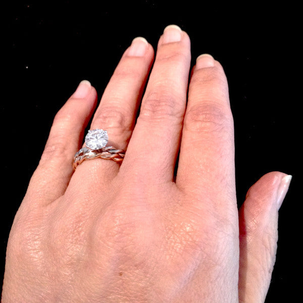 Hand Twisted 14k Cable Rope Wedding Set with Moissanite mondinyc