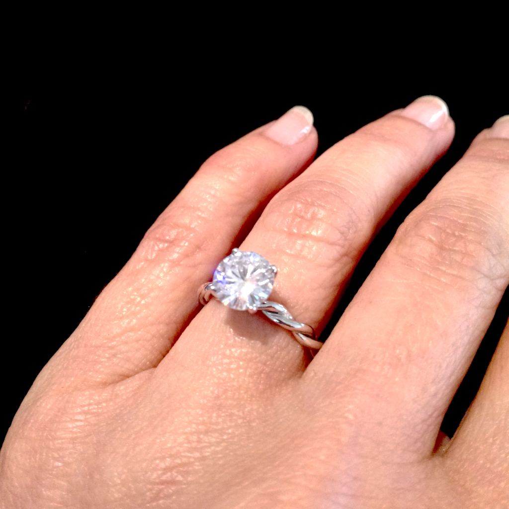 Unique 2 Tone Hand Twisted Cable Rope Engagement Ring and with 1 Carat Forever Brilliant / Forever One Moissanite,14k Rose And White Gold Stacking Ring - FB2TROP25ER