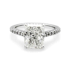 2.5 Carat Radiant Cut Moissanite Engagement Ring, With .5 Carat Diamonds, Anniversary Ring - F1OAS2017