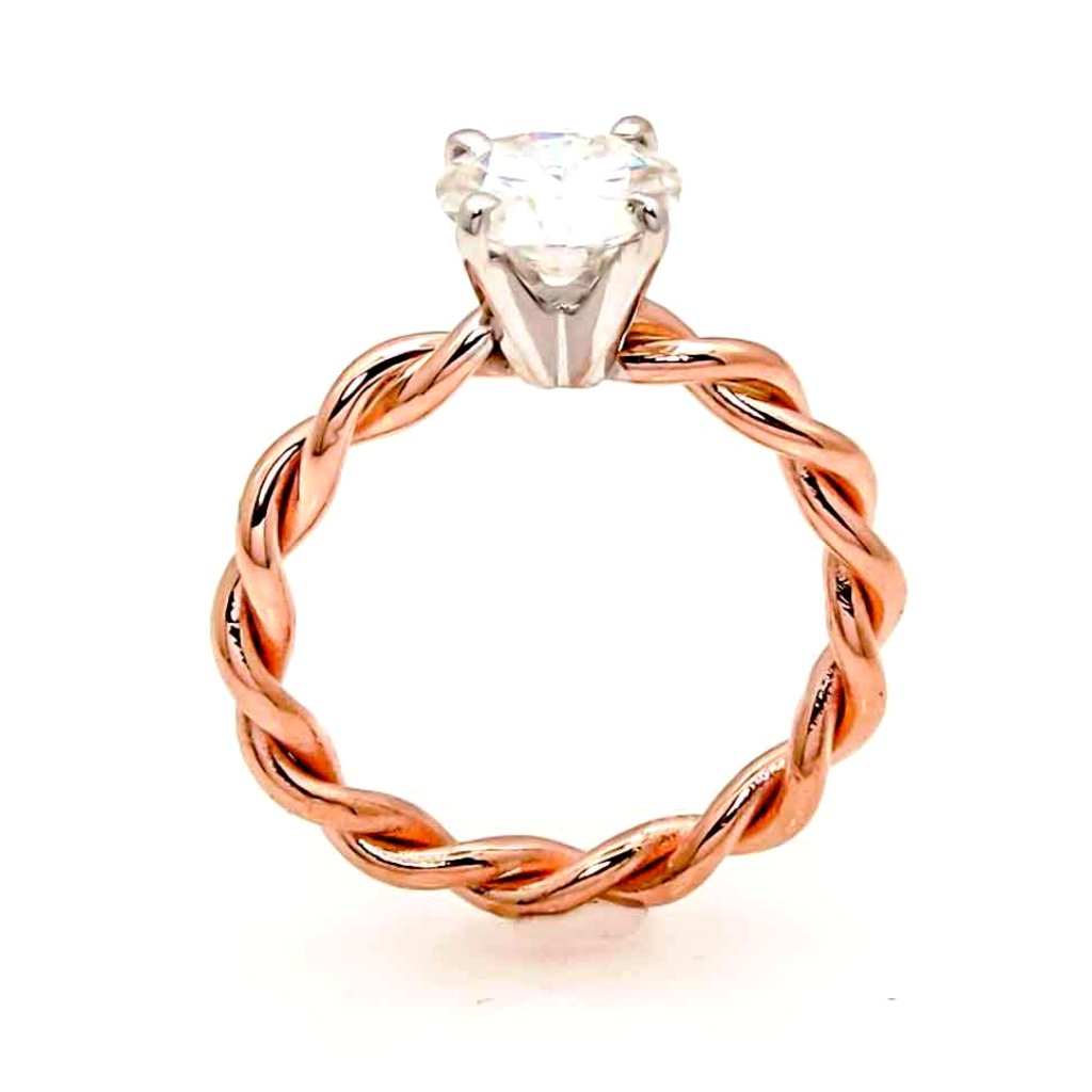 Unique Hand Twisted Cable Rope Engagement/Wedding Set, Semi Mount, Ring Setting, For 1 Carat Center Stone, 14k Rose Gold, 14k Yellow Gold, 14k White Gold, Stacking Ring, Wedding Set - ROP25