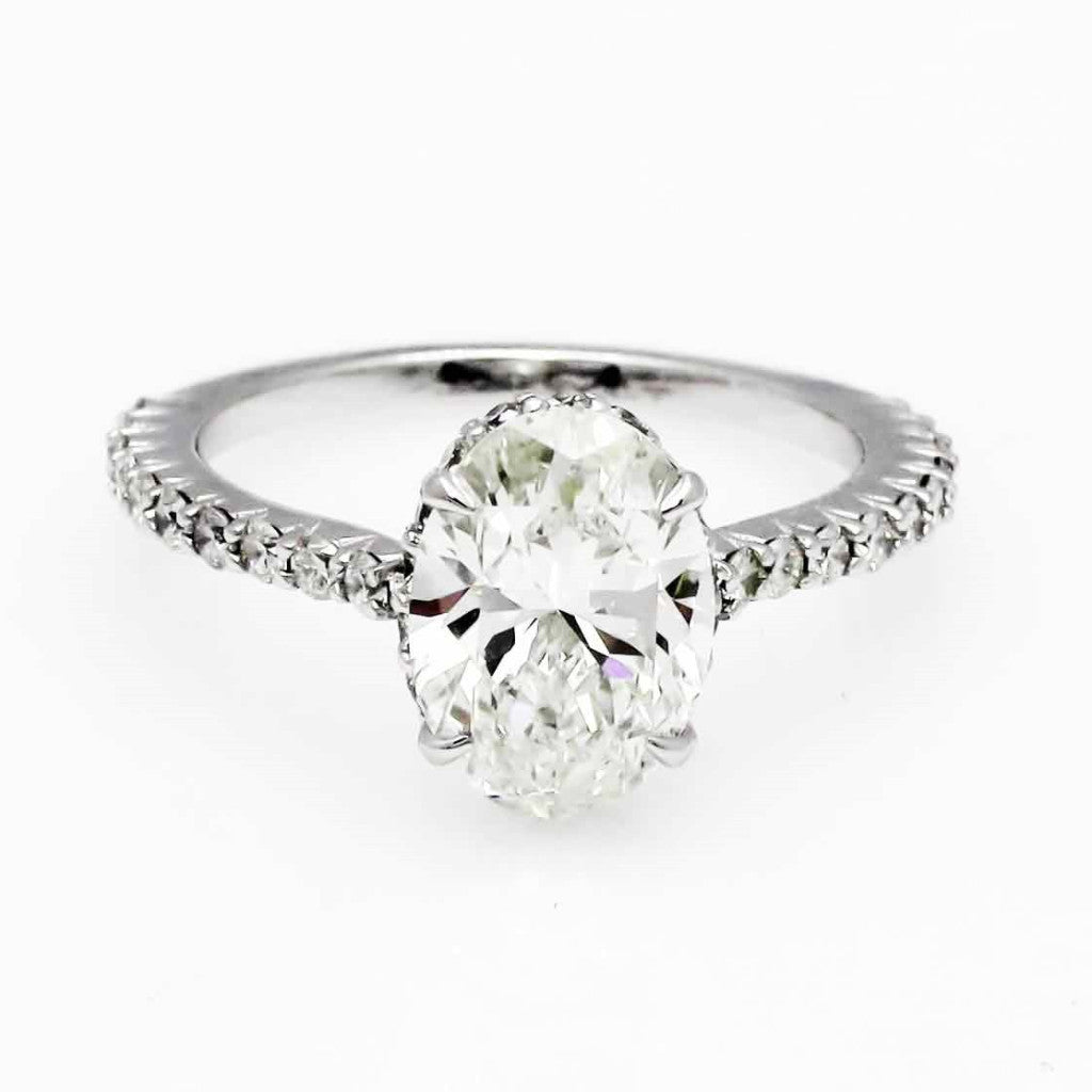 Moissanite Engagement Ring, With Unique 2 Carat Oval Forever One Moissanite & .50 Carat Diamond, Anniversary - F1MR001