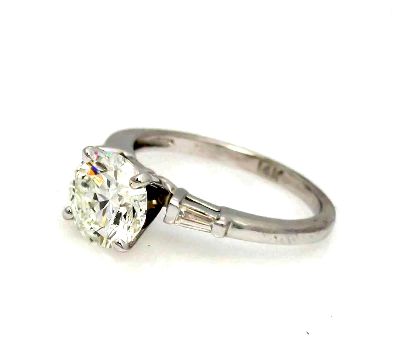 Moissanite Engagement Ring, With Unique 2 Carat Brilliant Cut Forever One Moissanite & .20 Carat Baguette Diamond, Anniversary - FO2JRER539